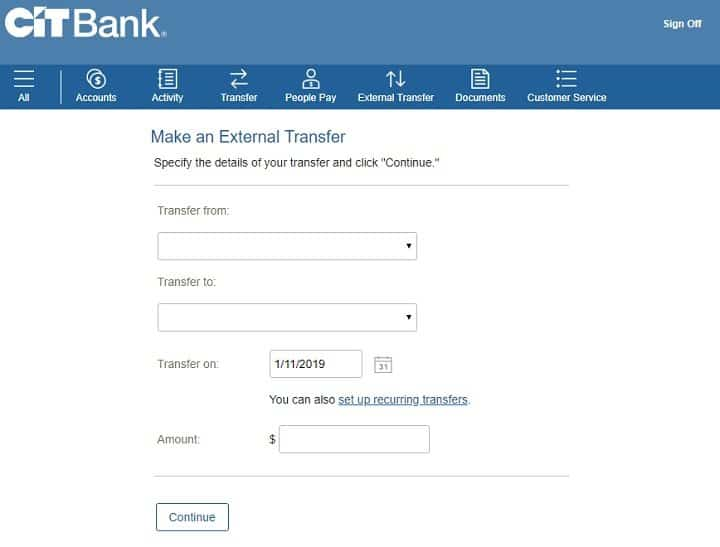 screenshot of step two of setting up an automatic transfer at CIT Bank