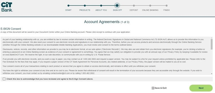 screenshot of step 13 of process of opening a CIT Bank Savings Builder account