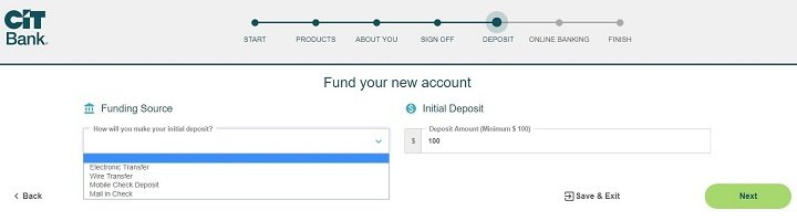 screenshot of step 16 of opening a CIT Bank Savings Builder Account