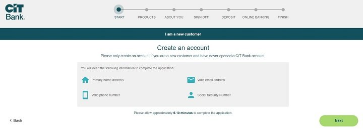 screenshot of step one of opening a cit bank savings builder account