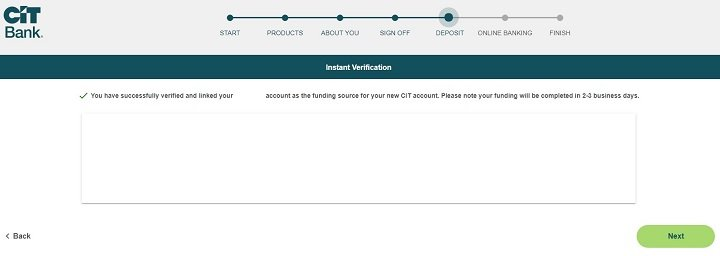 screenshot of step 22 of opening a CIT Bank Savings Builder Account