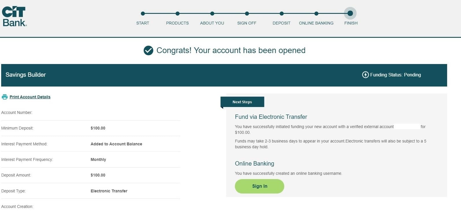 screenshot of step 28 of opening a CIT Bank Savings Builder Account