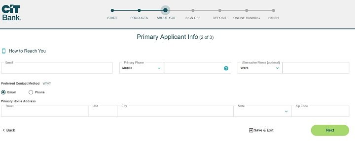 screenshot of step 6 of process of opening a CIT Bank Savings Builder account