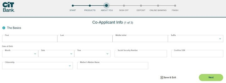 screenshot of step 9 of process of opening a CIT Bank Savings Builder account