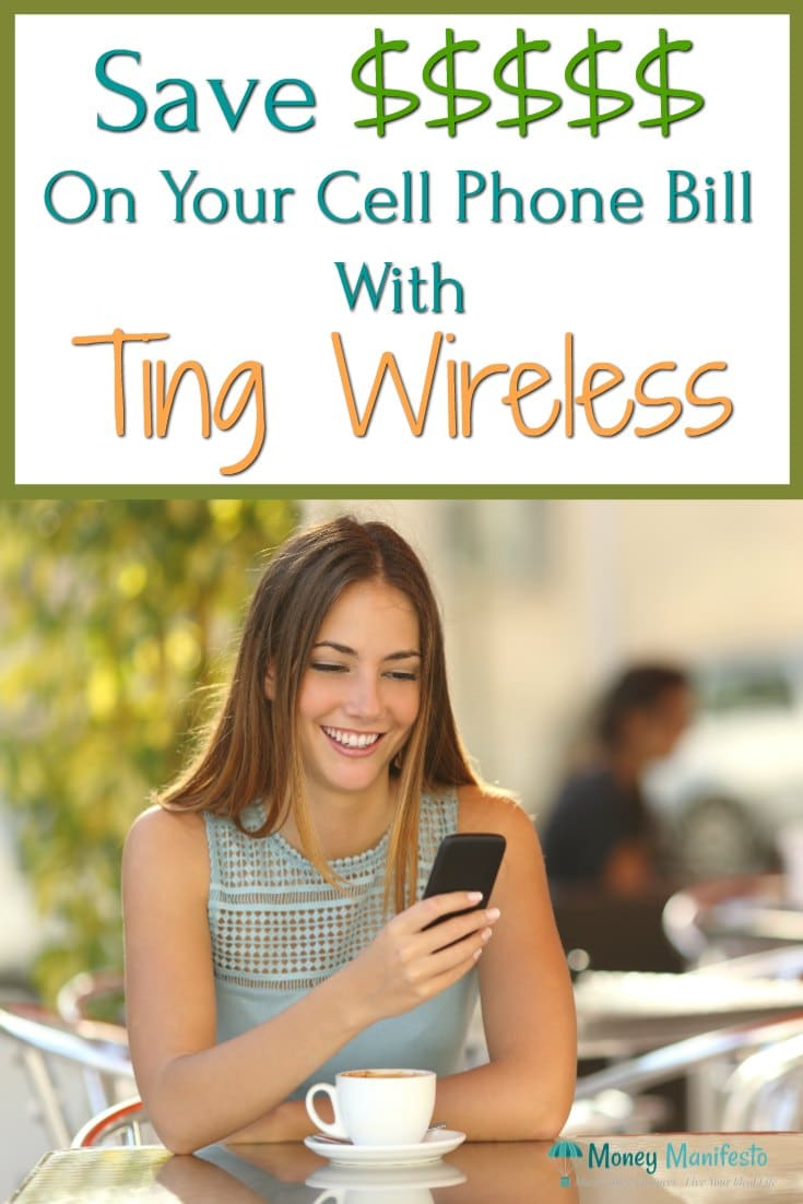 Save Money on your cell phone bill with ting wireless above woman sitting at coffee shop table looking at her smartphone