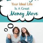 dreaming up your ideal life is a great money move above couple sitting on floor against a wall looking up