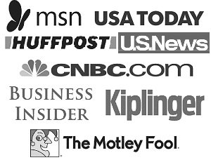 logos of msn, usa today, huffpost, US News, CNBC, Business Insider, Kiplinger, The Motley Fool