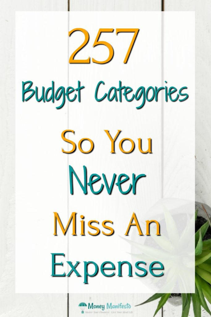 257 budget categories so you never miss an expenses again overlayed over potted plant on whitewashed wood background