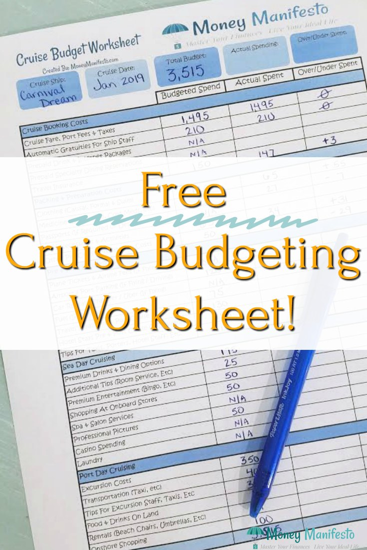 free cruise budgeting worksheet overlayed over money manifesto's free cruise budget worksheet