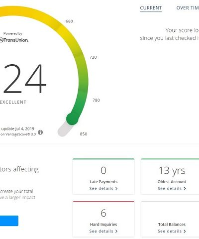 chase credit journey dashboard including free credit score and credit health factors