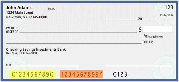 image of a personal check with routing number highlighted in yellow and account number highlighted in orange