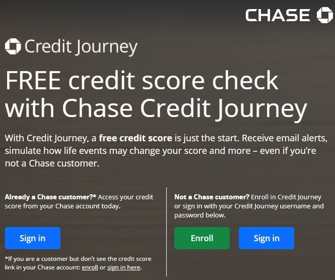 chase credit journey sign up page