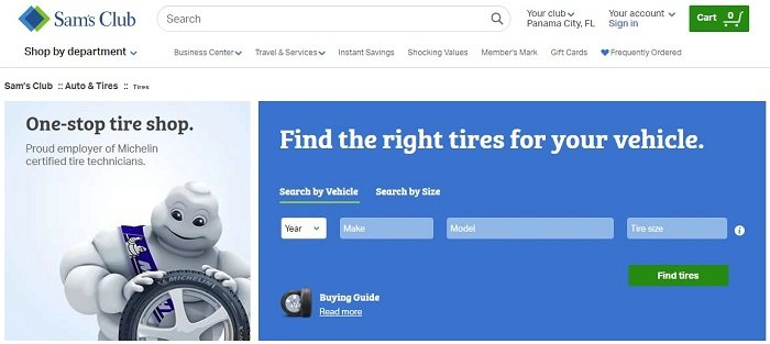 sams club tires website