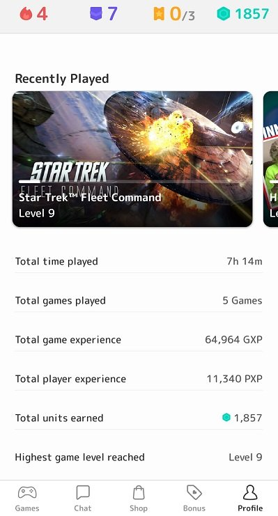 app stats after 7 hours 14 mins of gameplay