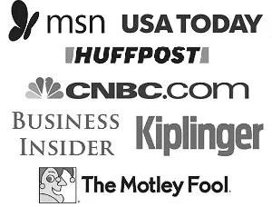 logos of msn, usa today, huffpost, CNBC, Business Insider, Kiplinger, The Motley Fool